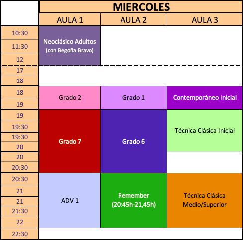 Horario Miercoles Curso 2021-2022 Estudio de Danza Alicia Broseta