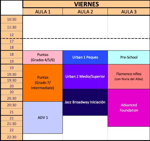 Horario Viernes Curso 2021-2022 Estudio de Danza Alicia Broseta